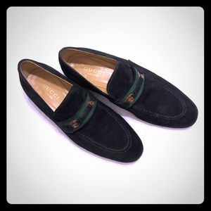 Gucci Black Suede Loafers EUC